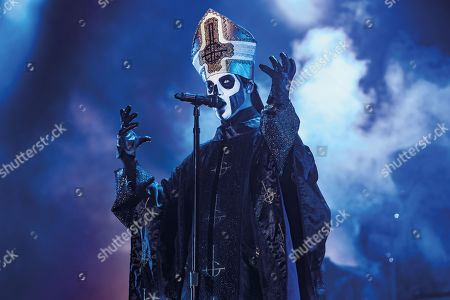 Walton-on-trent United Kingdom - August 12: Frontman Tobias Forge Better Known By Hi Stage Name Papa Emeritus Of Swedish Hard Rock Group Ghost Performing Live On Stage At Bloodstock Open Air Festival In Derbyshire On August 12