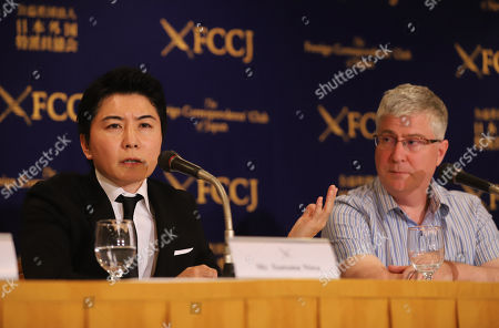 """Stock Image of Japanese actor Tsutomu Niwa (L) and British film director John Williams of Sophia University professor speak at a press conference for their latest movie """"The Trial"""" which will be screening on June 30 at the Foreign Correspondents' Club of Japan"""