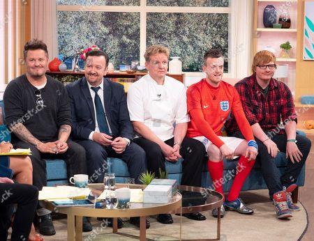 Stock Image of 'Lookalikes' - Andy Harmer (David Beckham), Ricky Gervais (Tim Oliver), Gordon Ramsay (Martin Jordan), Jamie Vardy (Lee Chapman), Ed Sheeran (Ty Jones)