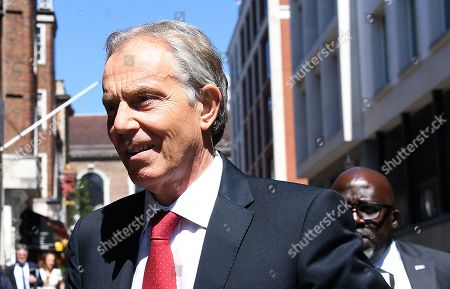Former British Prime Minister Tony Blair arrives, ahead of his speech, John C Whitehead Lecture, In Defence of Globalization, at Chatham House in London, Britain, 27 June 2018. Reports state that Tony Blair is delivering the annual John C Whitehead Lecture, honouring the many contributions John Whitehead, the former US deputy secretary of state to George Shultz, made to Anglo-American relations in the public and private sectors.