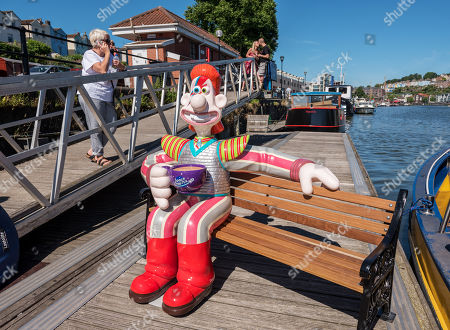 """""""Space Oddity"""", Wallace character at the Gromit Unleashed 2, official launch at Bristol Harbourside. Gromit Unleashed 2 will see the Academy Award®-winning character Gromit by Nick Park at Aardman Animations returning to Bristol in 2018 for the second time on sculpture trails to raise money for  the Grand Appeal charity. The character of Gromit will be joined by Wallace and arch nemesis Feathers McGraw."""