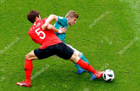 Timo Werner of Germany, Yun Young-sun of South Korea and Jang Hyun-soo of South Korea