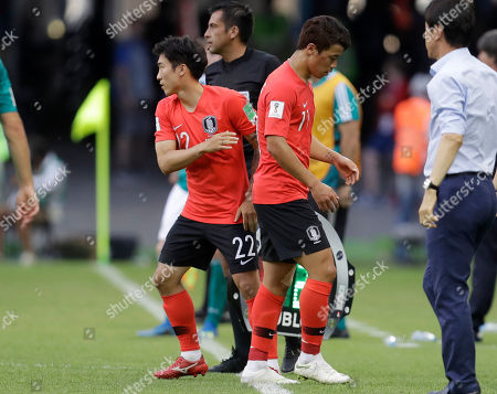 South Korea's Hwang Hee-chan is substituted by Go Yo-han during the group F match between South Korea and Germany, at the 2018 soccer World Cup in the Kazan Arena in Kazan, Russia