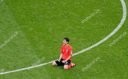 South Korea's Ju Se-jong reacts at the end of the group F match between South Korea and Germany, at the 2018 soccer World Cup in the Kazan Arena in Kazan, Russia