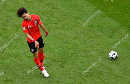 South Korea's Lee Jae-sung reacts during the group F match between South Korea and Germany, at the 2018 soccer World Cup in the Kazan Arena in Kazan, Russia