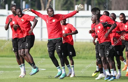 Stock Photo of Senegal goalkeeper Khadim Ndiaye (C) and teammate during a training session outside the Cosmos Arena in Samara, Russia, 27 June 2018. Colombia will face Senegal in their FIFA World Cup 2018 group H preliminary round soccer match on 28 June 2018.