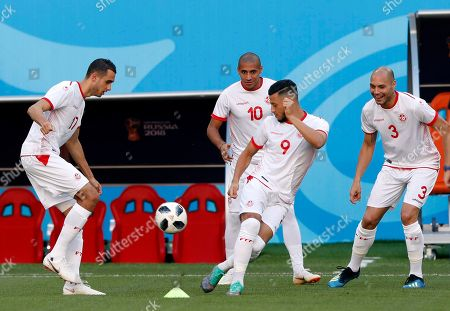 Tunisia players Ellyes Skhiri (L), Anice Badri (C), Wahbi Khazri (Back) and Yohan Ben Alouane (R) during a training session at Mordovia Arena in Saransk, Russia, 27 June 2018. Tunisia will face Panama in the FIFA World Cup 2018 group G preliminary round soccer match at Mordovia Arena in Saransk, Russia on 28 June 2018.