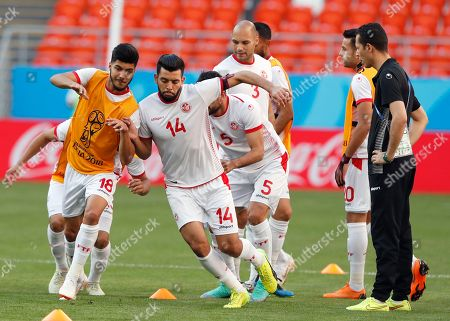 Tunisia players Mohamed Ben Amor (R) and Bassem Srarfi (L) during a training session at Mordovia Arena in Saransk, Russia, 27 June 2018. Tunisia will face Panama in the FIFA World Cup 2018 group G preliminary round soccer match at Mordovia Arena in Saransk, Russia on 28 June 2018.