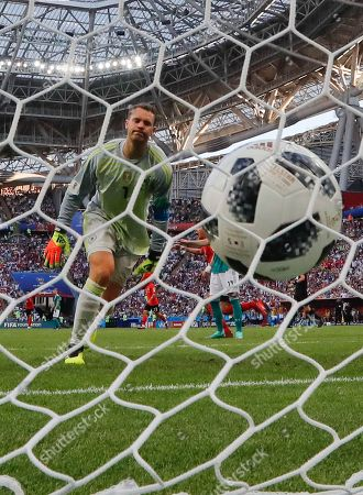 Germany goalkeeper Manuel Neuer reacts after South Korea's Kim Young-gwon scored his side's opening goal during the group F match between South Korea and Germany, at the 2018 soccer World Cup in the Kazan Arena in Kazan, Russia