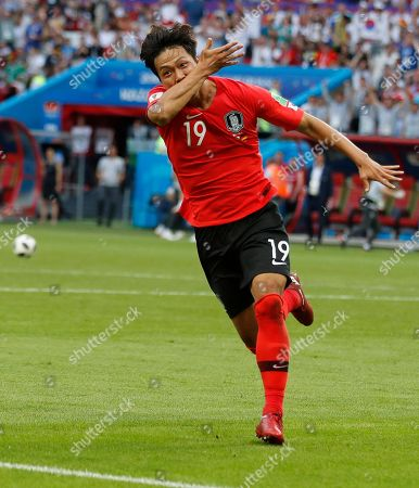 South Korea's Kim Young-gwon celebrates scoring his sides first goal during the group F match between South Korea and Germany, at the 2018 soccer World Cup in the Kazan Arena in Kazan, Russia