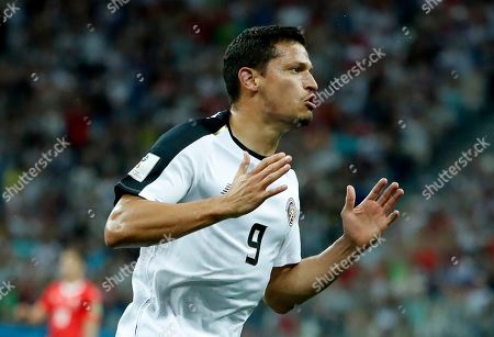 Daniel Colindres of Costa Rica in action during the FIFA World Cup 2018 group E preliminary round soccer match between Switzerland and Costa Rica in Nizhny Novgorod, Russia, 27 June 2018. (RESTRICTIONS APPLY: Editorial Use Only, not used in association with any commercial entity - Images must not be used in any form of alert service or push service of any kind including via mobile alert services, downloads to mobile devices or MMS messaging - Images must appear as still images and must not emulate match action video footage - No alteration is made to, and no text or image is superimposed over, any published image which: (a) intentionally obscures or removes a sponsor identification image; or (b) adds or overlays the commercial identification of any third party which is not officially associated with the FIFA World Cup)