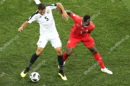 Breel Embolo of Switzerland and Celso Borges of Costa Rica