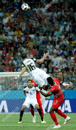 Cristian Gamboa of Costa Rica goes for a header during the FIFA World Cup 2018 group E preliminary round soccer match between Switzerland and Costa Rica in Nizhny Novgorod, Russia, 27 June 2018.