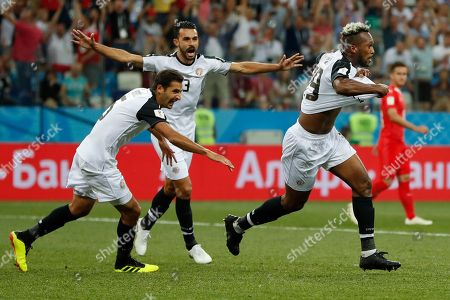 Costa Rica's Kendall Waston, right, celebrates with his teammates Celso Borges, left, and Giancarlo Gonzalez after scoring his side's first goal during the group E match between Switzerland and Costa Rica, at the 2018 soccer World Cup in the Nizhny Novgorod Stadium in Nizhny Novgorod, Russia