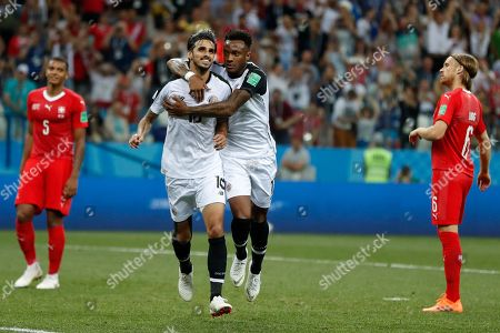 Costa Rica's Bryan Ruiz, left, celebrates with his teammate Rodney Wallace after scoring his side's second goal during the group E match between Switzerland and Costa Rica, at the 2018 soccer World Cup in the Nizhny Novgorod Stadium in Nizhny Novgorod, Russia