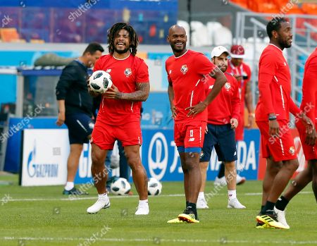Panama's player Roman Torres (L) chats with his teammate Adolfo Machado (R) during a training session at Mordovia Arena in Saransk, Russia, 27 June 2018. Panama will face Tunisia in the FIFA World Cup 2018 group G preliminary round soccer match at Mordovia Arena in Saransk, Russia on 28 June 2018.