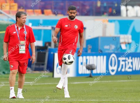 Panama's head coach Hernan Gomez (L) and midfielder Gabriel Gomez (R) attend a training session at Mordovia Arena in Saransk, Russia, 27 June 2018. Panama will face Tunisia in the FIFA World Cup 2018 group G preliminary round soccer match at Mordovia Arena in Saransk, Russia on 28 June 2018.