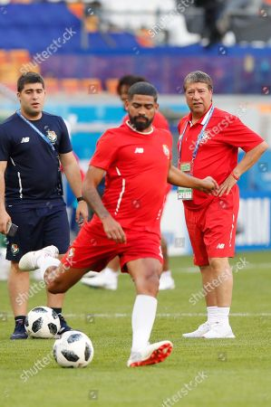 Panama's head coach Hernan Gomez (R) and midfielder Gabriel Gomez (L) attend a training session at Mordovia Arena in Saransk, Russia, 27 June 2018. Panama will face Tunisia in the FIFA World Cup 2018 group G preliminary round soccer match at Mordovia Arena in Saransk, Russia on 28 June 2018.