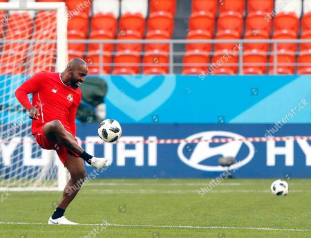Stock Image of Panama's defender Felipe Baloy attends a training session at Mordovia Arena in Saransk, Russia, 27 June 2018. Panama will face Tunisia in the FIFA World Cup 2018 group G preliminary round soccer match at Mordovia Arena in Saransk, Russia on 28 June 2018.