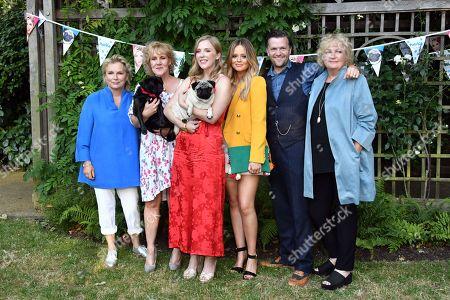 Stock Image of Jennifer Saunders, Vanessa Davies, Beattie Edmondson, Emily Atack, Tom Bennett, and Mandie Fletcher
