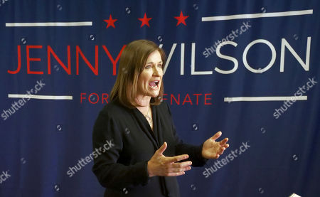 Democratic Senate candidate Jenny Wilson speaks during an interview, in Salt lake City. Mitt Romney looks like a shoo-in for a Senate seat from Utah after winning a landslide primary victory and toning down his criticism of Donald Trump, but first he'll face a Democratic opponent with a distinctly different political outlook