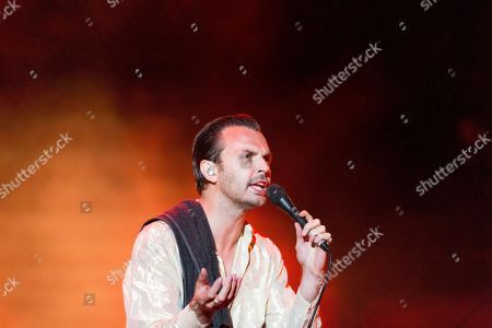 Singer Theo Hutchcraft of the English synth-pop duo Hurts performs during their concert at the 26th VOLT Festival in Sopron, Hungary, 27 June 2018 (issued 28 June 2018).