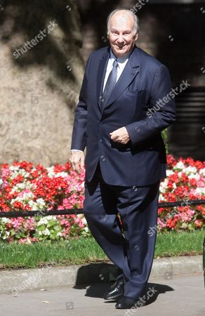 His Highness Prince Karim Aga Khan IV arrives for a meeting with British Prime Minister Theresa May at 10 Downing Street