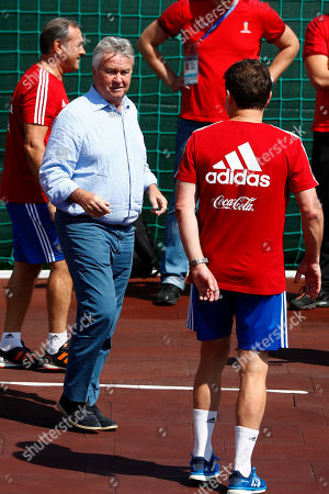 Former Russian national soccer coach Guus Hiddink arrives for a official training session of the Russian team prior to the round of 16 match between Russia and Spain at the 2018 soccer World Cup at the Federal Sports Centre Novogorsk, near Moscow, Russia