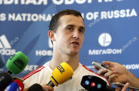 Goalkeeper Andrey Lunyov speaks during press conference after a Russian team training session in Novogorsk sport base outside Moscow, Russia, 28 June 2018. Russia will face Spain in the Round of 16 of the FIFA World Cup on 01 July 2018.
