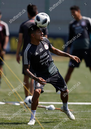 Mexico's Javier Aquino, control the ball during a training session of Mexico at the 2018 soccer World Cup in Moscow, Russia