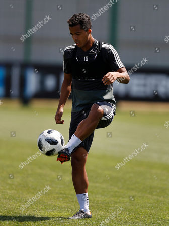 Mexico's Giovani Dos Santos, control the ball during a training session of Mexico at the 2018 soccer World Cup in Moscow, Russia