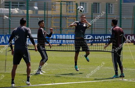 Mexico's Rafael Marquez, control the ball during a training session of Mexico at the 2018 soccer World Cup in Moscow, Russia