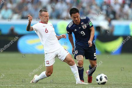 Jacek Goralski of Poland and Shinji Okazaki of Japan