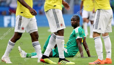 Moussa Konate of Senegal reacts after the FIFA World Cup 2018 group H preliminary round soccer match between Senegal and Colombia in Samara, Russia, 28 June 2018. (RESTRICTIONS APPLY: Editorial Use Only, not used in association with any commercial entity - Images must not be used in any form of alert service or push service of any kind including via mobile alert services, downloads to mobile devices or MMS messaging - Images must appear as still images and must not emulate match action video footage - No alteration is made to, and no text or image is superimposed over, any published image which: (a) intentionally obscures or removes a sponsor identification image; or (b) adds or overlays the commercial identification of any third party which is not officially associated with the FIFA World Cup)
