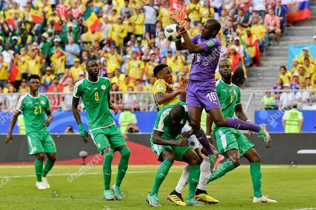 Senegal goalkeeper Khadim Ndiaye catches the ball during the group H match between Senegal and Colombia, at the 2018 soccer World Cup in the Samara Arena in Samara, Russia