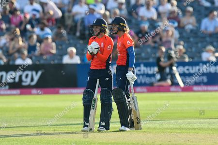 Sarah Taylor of England and Natalie Sciver of England during the International T20 match between England Women Cricket and New Zealand at the Bristol County Ground, Bristol. Picture by Graham Hunt