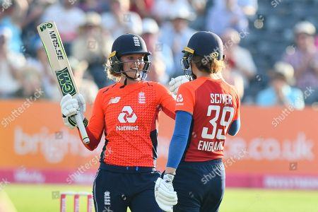 50 for Sarah Taylor of England - Sarah Taylor of England celebrates scoring a half century during the International T20 match between England Women Cricket and New Zealand at the Bristol County Ground, Bristol. Picture by Graham Hunt