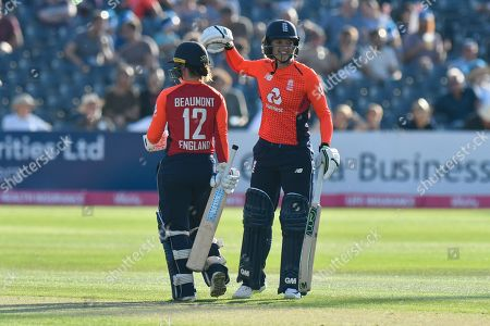 Tammy Beaumont of England and Sarah Taylor of England during the International T20 match between England Women Cricket and New Zealand at the Bristol County Ground, Bristol. Picture by Graham Hunt