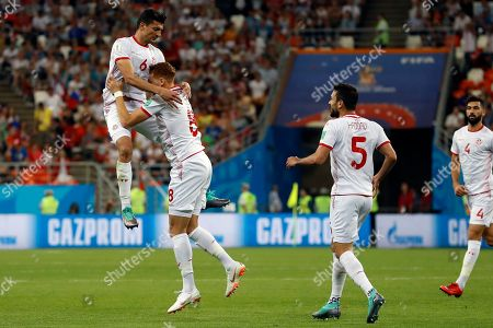 Tunisia's Fakhreddine Ben Youssef (8) celebrates with his teammates after scoring his side's first goal during the group G match between Panama and Tunisia at the 2018 soccer World Cup at the Mordovia Arena in Saransk, Russia