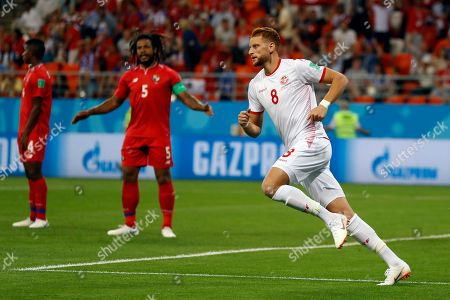 Tunisia's Fakhreddine Ben Youssef celebrates after scoring his side's first goal during the group G match between Panama and Tunisia at the 2018 soccer World Cup at the Mordovia Arena in Saransk, Russia