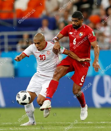 Panama's Gabriel Gomez, right, tries to stop Tunisia's Wahbi Khazri during the group G match between Panama and Tunisia at the 2018 soccer World Cup at the Mordovia Arena in Saransk, Russia
