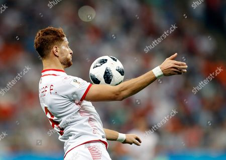 Tunisia's Fakhreddine Ben Youssef controls the ball during the group G match between Panama and Tunisia at the 2018 soccer World Cup at the Mordovia Arena in Saransk, Russia