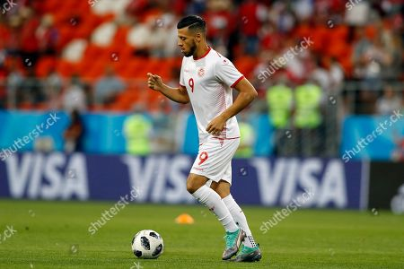 Tunisia's Anice Badri controls the ball ahead the group G match between Panama and Tunisia at the 2018 soccer World Cup at the Mordovia Arena in Saransk, Russia
