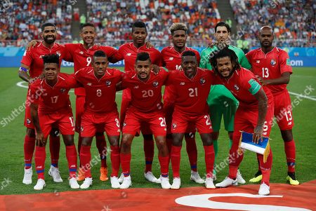 Panama starting players pose for a team photo at the beginning of the group G match between Panama and Tunisia at the 2018 soccer World Cup in the Mordovia Arena in Saransk, Russia, . Front row, from left, are Luis Ovalle, Edgar Barcenas, Anibal Godoy, Jose Luis Rodriguez, and Roman Torres. Back row, from left, are Gabriel Gomez, Gabriel Torres, Fidel Escobar, Alberto Quintero, goalkeeper Jaime Penedo, and Adolfo Machado