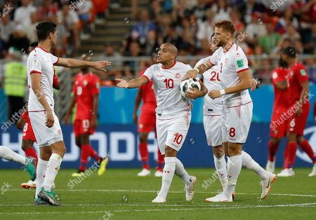 Tunisia players celebrate after Tunisia's Fakhreddine Ben Youssef, right, scored their side's opening goal during the group G match between Panama and Tunisia at the 2018 soccer World Cup in the Mordovia Arena in Saransk, Russia