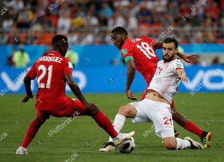 Tunisia's Hamdi Naguez, front right, clashes with Panama's Jose Luis Rodriguez, left, and Luis Tejada during the group G match between Panama and Tunisia at the 2018 soccer World Cup in the Mordovia Arena in Saransk, Russia