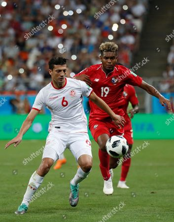 Stock Photo of Tunisia's Rami Bedoui, left, is pursued by Panama's Alberto Quintero during the group G match between Panama and Tunisia at the 2018 soccer World Cup in the Mordovia Arena in Saransk, Russia