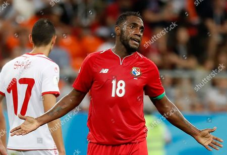 Panama's Luis Tejada reacts during the group G match between Panama and Tunisia at the 2018 soccer World Cup in the Mordovia Arena in Saransk, Russia