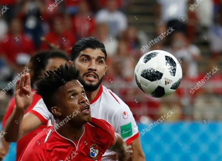 Panama's Luis Ovalle, left, and Tunisia's Ferjani Sassi compete for a ball during the group G match between Panama and Tunisia at the 2018 soccer World Cup in the Mordovia Arena in Saransk, Russia
