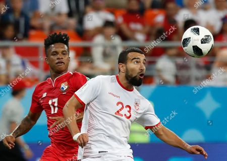 Tunisia's Naim Sliti, right, and Panama's Luis Ovalle compete for a ball during the group G match between Panama and Tunisia at the 2018 soccer World Cup in the Mordovia Arena in Saransk, Russia